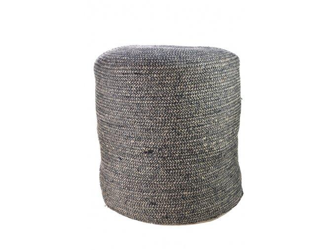 Sedací puf Vingo v černo hnědých odstínech z juty