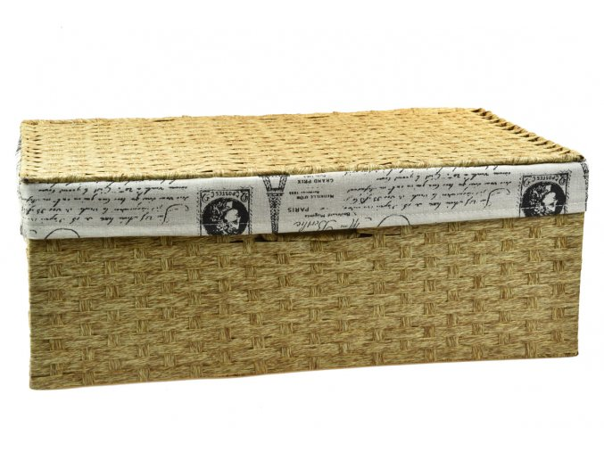 Úložný box s víkem s látkou PARIS (rozměry (cm) 30x21, v. 11)
