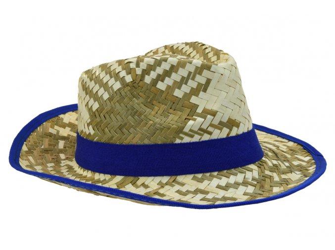 Pánský slaměný letní klobouk s modrým lemem