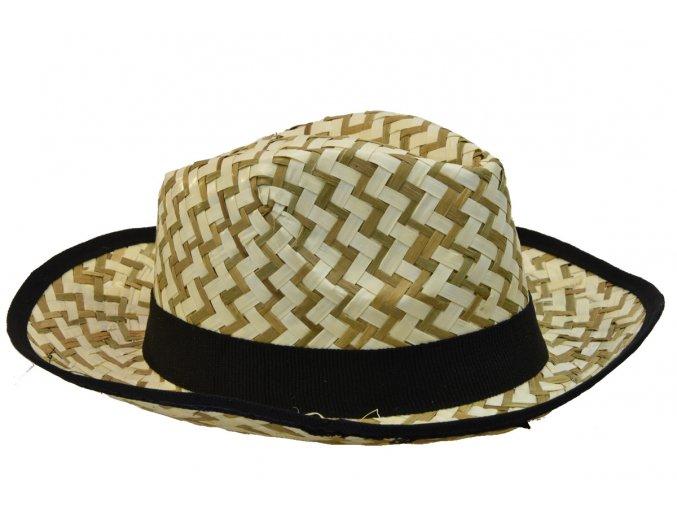 Pánský slaměný letní klobouk s černým lemem