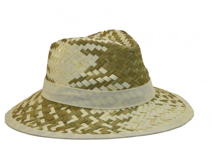 Pánský slaměný letní klobouk s bílým lemem
