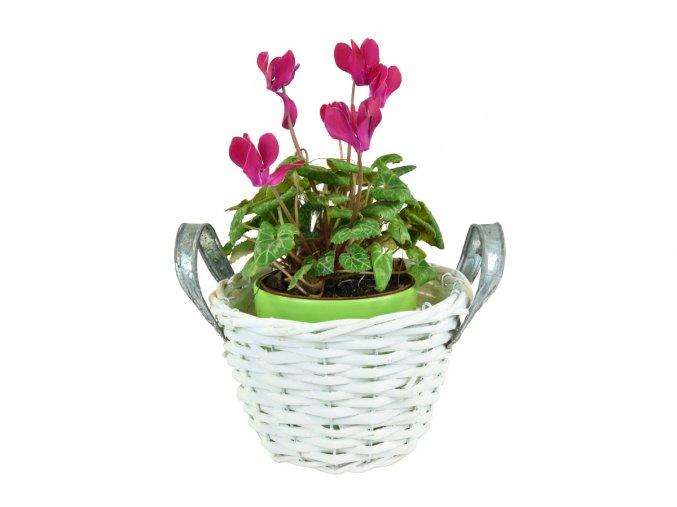 16509 kvetinac s kovovymi uchyty bily