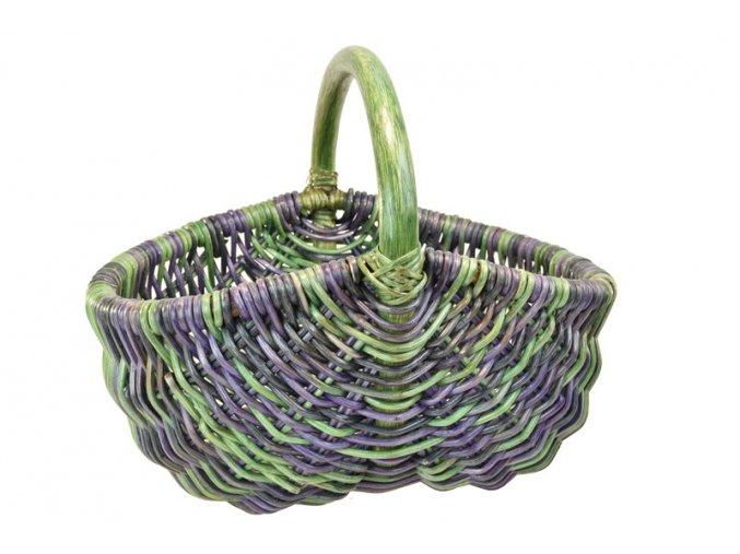 Ratanový nákupní košík v zeleno fialových odstínech