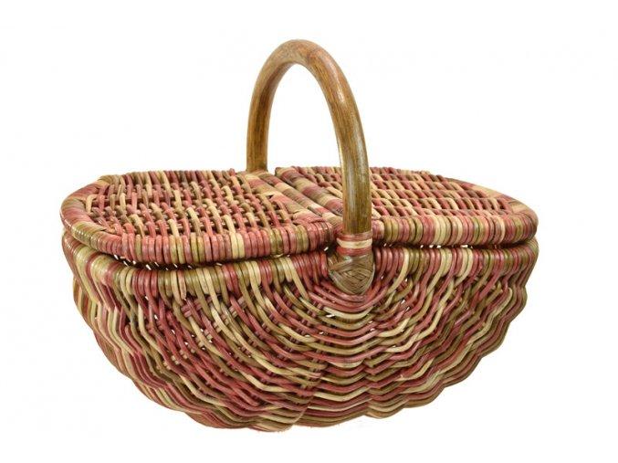 Ratanový koš na piknik v červeno hnědých odstínech
