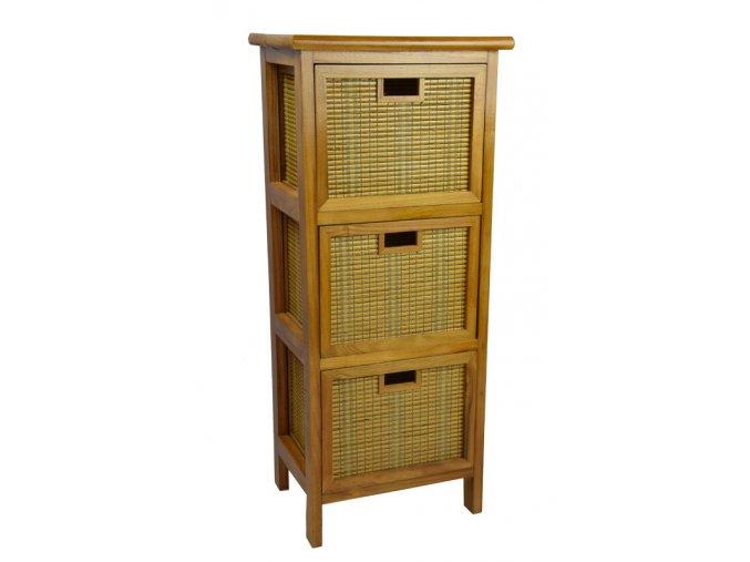 Hnědá komoda Vingo se zásuvkami z bambusu