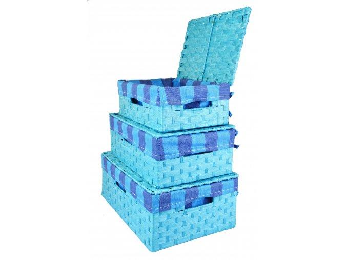 Úložný box s víkem světle modrý