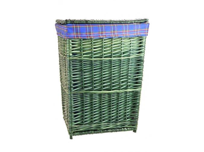 Zelený proutěný koš na prádlo s modrou látkou (rozměry (cm) 39x34, v. 52)