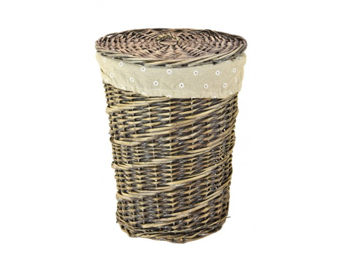 Proutěný koš na prádlo kulatý se šedou patinou