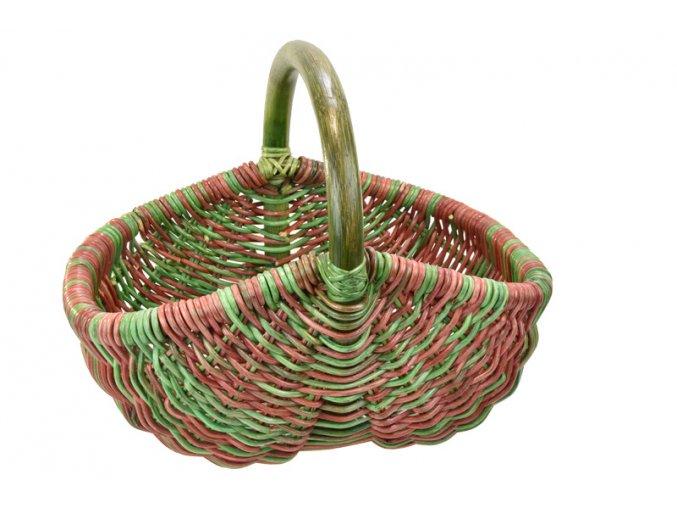 17646 ratanovy nakupni kosik v zeleno cervenych odstinech