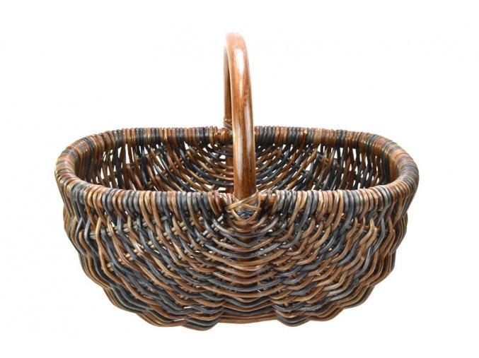 Ratanový košík na nákup v černo hnědých odstínech