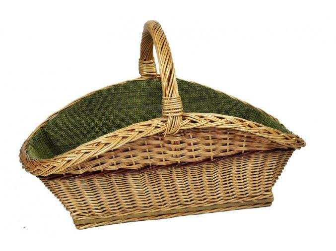 Proutěný koš na dřevo se zelenou textilií