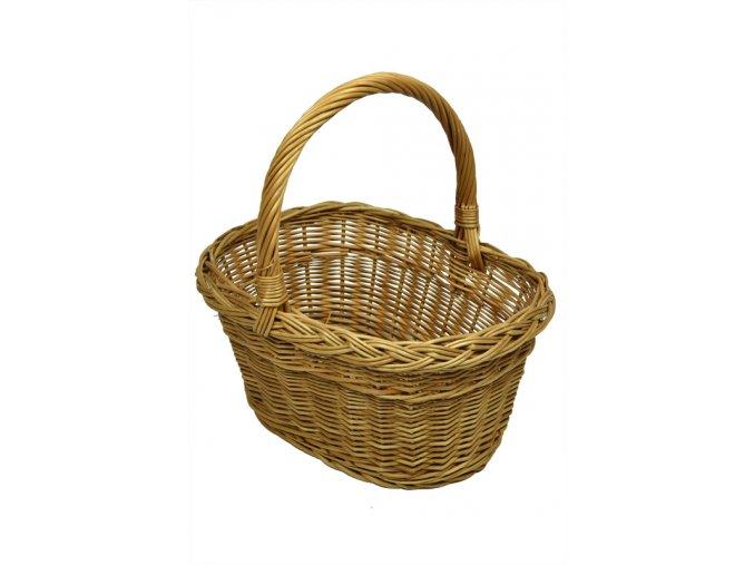Hranatý proutěný košík na nákup (rozměry (cm) 28x34, v. 37)