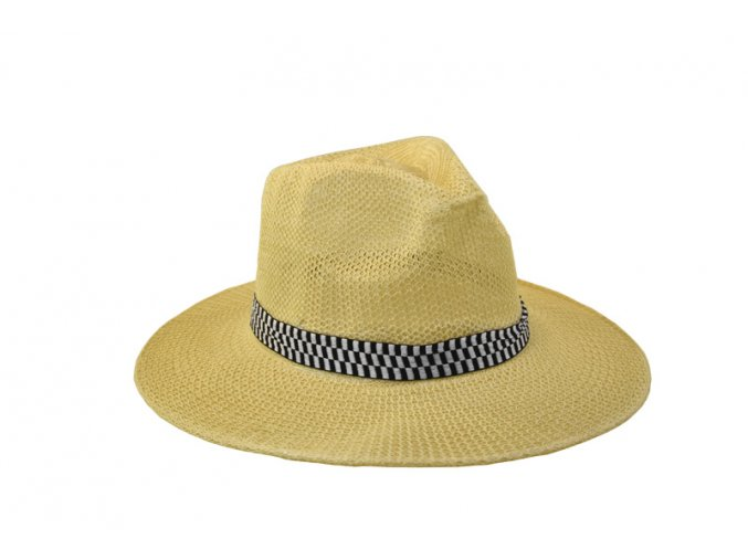 Pánký slaměný klobouk s černobílou stuhou