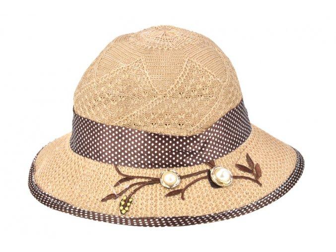 Dětský klobouk hnědý  s puntíkovanou mašlí