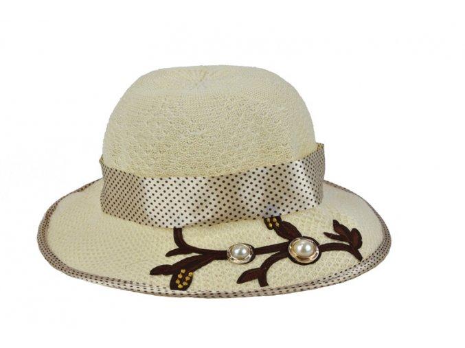 Dětský klobouk smetanový s puntíkovanou mašlí