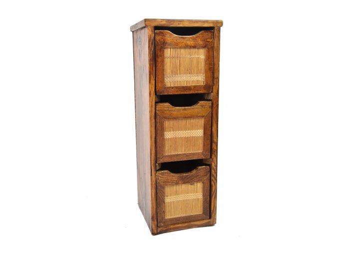 Skříňka se 3 zásuvkami s bambusem