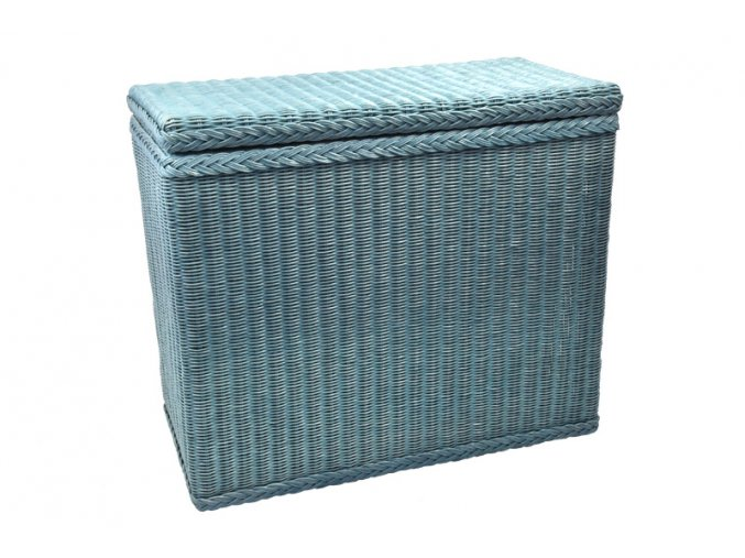 Modrý velký koš na prádlo z ratanu