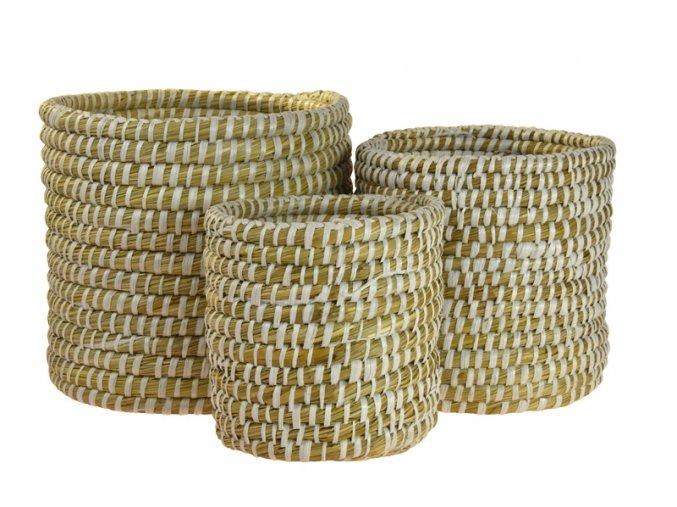 Sada 3 kulatých boxů z mořské trávy s bílým propletením