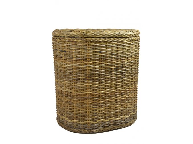 Oválný ratanový koš na prádlo v zemitých odstínech