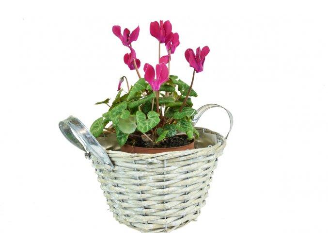 5210 2 kvetinac s kovovymi uchyty sedy