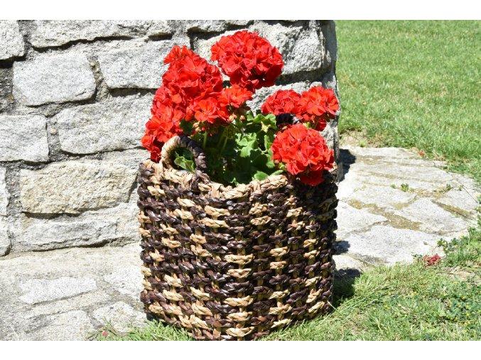 Sada 3 květináčů s úchyty z materiálu vodní hyacint