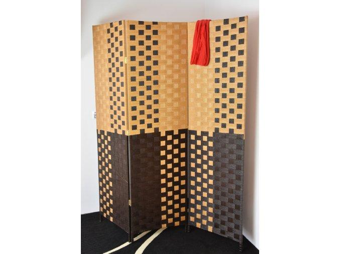 Paraván hnědý se světlým vzorem (Velikost 150x2x180)