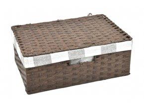 Sada 3 úložných boxů s víkem hnědých (rozměry boxu Sada  11x30x21|13x36x24|15x40x27)