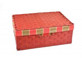 Sada 3 úložných boxů s víkem červených (rozměry boxu Sada  11x30x21|13x36x24|15x40x27)