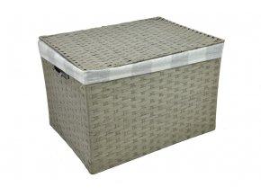 Sada 4 úložných boxů s víkem šedých (rozměry boxu Sada  30x43x32|28x40x29|26x36x25|24x32x21)