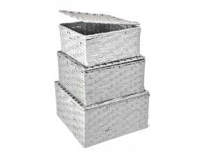 Sada 3 úložných boxů s víkem šedých