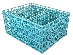 Sada 3 úložných boxů modrých (rozměry boxu Sada  22x46x36|20x42x32|18x30x18)
