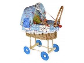 Proutěný kočárek se stahovací boudičkou - modrý patchwork