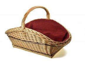 Proutěný koš na dřevo s vínovou textilií