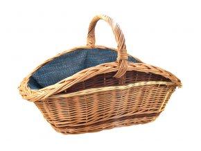 Proutěný koš na dřevo s modrou textilií