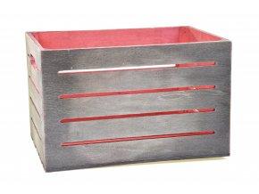 Dřevěná bedýnka šedo-červená