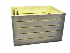 Dřevěná bedýnka šedo-žlutá