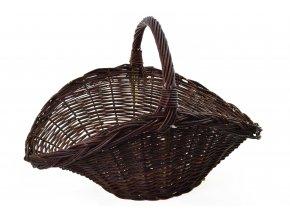 Tmavý proutěný koš na dřevo vějíř (rozměry (cm) 62x42, v. 38)