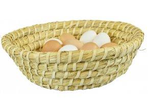 Kulatá slaměná ošatka ručně pletená a zpevněná lýkem s vejci uvnitř