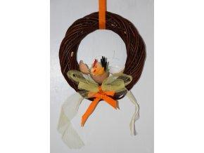 Věnec Vingo upletený z loupaného vrbového proutí s dekorací