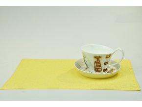 Bambusové prostírání Vingo na velikonoční stůl žluté barvy s hrnečkem a podšálkem