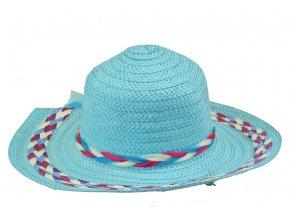 13671 klobouk modry s ruzovo bilym spletenim