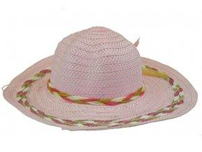 Klobouk růžový s khaki-bílým spletením