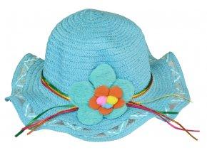 Slaměný klobouk modrý s květinou