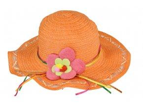 Slaměný klobouk oranžový s květinou