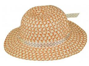 13746 slameny klobouk oranzovo bily s kvetinou