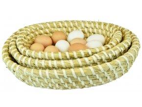 Sada 3 kulatých slaměných ošatek Vingo zpevněných lýkem - ošatky jsou vloženy do sebe a doplněny o dekoraci vejec