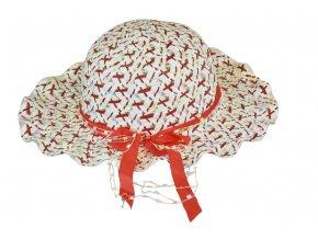 Slaměný klobouk červený s mašlí