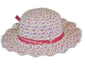 Slaměný klobouk růžový s mašlí