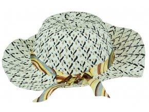 Slaměný klobouk bílo-černý se stuhou