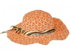 Slaměný klobouk oranžový se stuhou